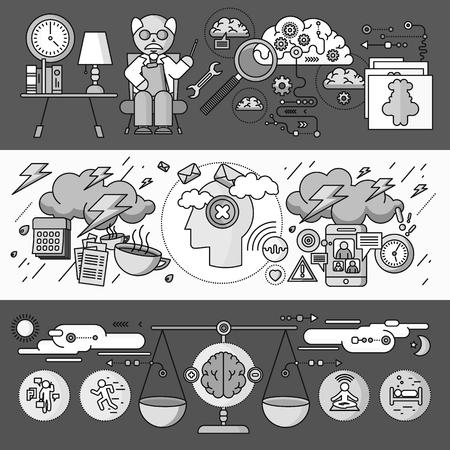 psicologia: Diagnóstico de diseño plano psicología cerebro. Terapia de Psiquiatría, el desorden y la meditación, la emoción estrés, la salud mente humana, el intelecto y la medicina, mental y neurología. Conjunto de finas, líneas de iconos