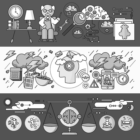 mental disorder: Diagnosis of brain psychology flat design. Psychiatry therapy, disorder and meditation, emotion stress, human mind health, intellect and medicine, mental and neurology. Set of thin, lines icons