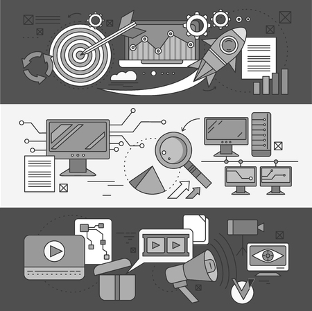 analytic: Concept search engine optimization. Analytic and analysis, development startup, diagram and statistic, management strategy, promotion project illustration. Set of thin, lines icons