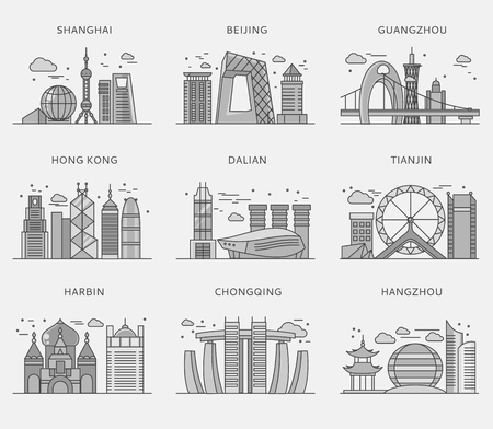 shanghai skyline: Icons Chinese major cities flat style. Shanghai and china, Beijing and Guangzhou, Hong Kong and Dalian, Tianjin and Harbin, Chongqing and Hangzhou illustration. White black