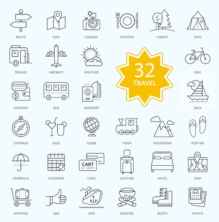 holiday icons: Set of travel icon linear design. Hotel icon, transportation icons, travel logo, holiday icons, map icon, route and relax, trip and vacation, journey and holiday, forest trailer aircraft illustration Illustration