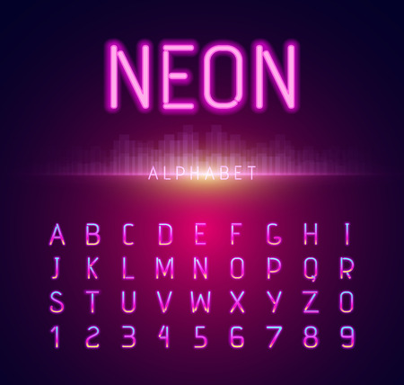 Neon alphabet font style flat design. Neon letters, neon sign, neon font, light alphabet, neon lights, art text typeset, type abc, typography electricity latin illustration Illustration
