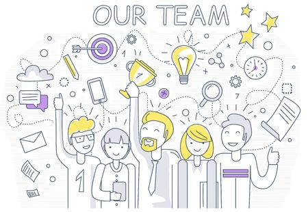 lineal: Nuestro equipo de éxito de diseño lineal. El trabajo en equipo y el equipo de negocios, nuestro negocio de equipo, equipo de oficina, el éxito del negocio, la gente de trabajo, la empresa y el liderazgo, el empresario y el trabajador, ilustración de la oficina de recursos