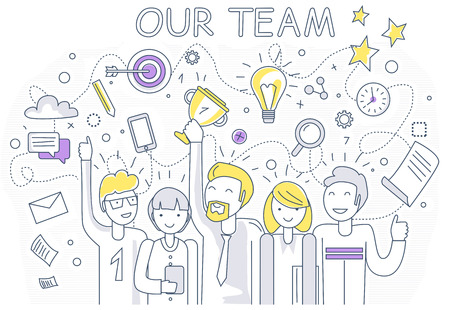 happiness or success: Our success team linear design. Teamwork and business team, our team business, office team, business success, work people, company and leadership, businessman and worker, resource office illustration