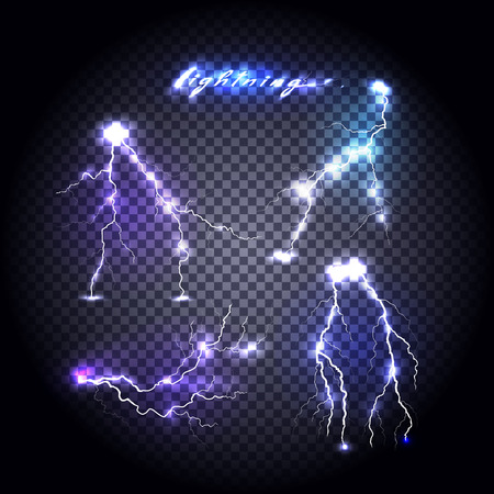 Set of bright lightning design. Light and lightning bolt, electricity and lightning storm, storm and thunder, bright flash, power energy, shock danger, thunderstorm abstract illustration