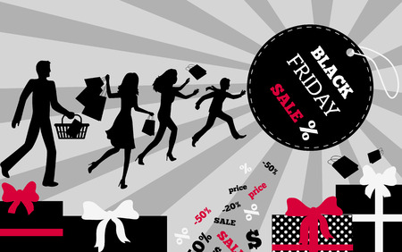 Black Friday sale inscription design template. Black Friday banner. Black friday sale, black friday shopping, cyber monday, sale, thanksgiving, shopping. Winter sale. Christmas sale. New year sale Illustration