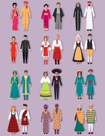 Conjunto de disfraces nacionales de diseño. Árabes, rusos o ucranianos, españoles y japoneses, nación indígena, cultura nativa, persona de tela, tradición, ilustración del país de asia