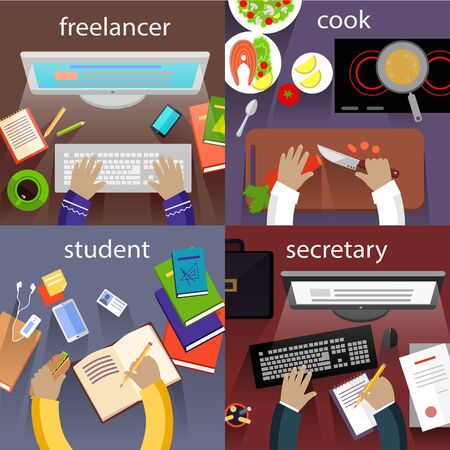computer work: Student and freelancer, cook and secretary. Office desk, desktop and workplace, work and workstation, office workspace, table and workspace illustration Illustration