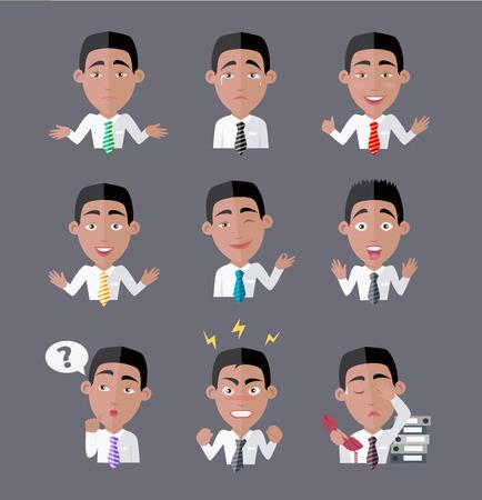 empleado de oficina: Variedad de emociones trabajador de oficina. persona, gente de dibujos animados, gerente de carácter, el éxito y enojado, expresión agotada, la depresión y la ilustración de negocios furioso
