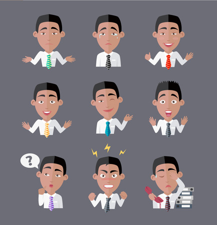 angry businessman: Variety of emotions office worker. Businessman person, cartoon people, character manager, success and angry, exhausted expression, depression and furious illustration