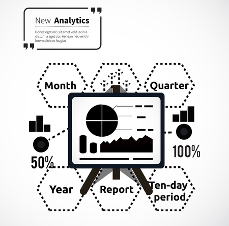 parameters: Stand with charts and parameters. Business concept of analytics. Poster banner on white background. Presentation and analysis, rating and performance indicators. Phrase analytics in isolation quotes Illustration