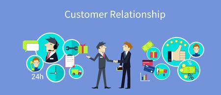 Relaciones con los clientes diseño de concepto. Gestión de relaciones con clientes, servicio al cliente, CRM, gestión de negocios, servicio y marketing, la comunicación y la ilustración de apoyo Ilustración de vector