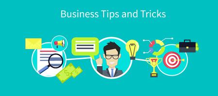 비즈니스 팁 및 트릭 디자인. 팁 아이콘, 유용한 팁, 조언 및 힌트, 아이디어 및 도구, 지원 지원, 제안 및 솔루션, 도움말 및 안내, 상담 서비스 일러스