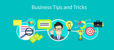 advice: Business tips and tricks design. Tips icon, helpful tips, advice and hint, idea and tools, assistance support, suggestion and solution, help and guidance, consultation service illustration Illustration