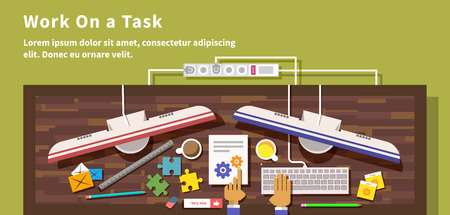 organize: Work on task design flat style. Project business, office and hand, job and management, paper document, strategy and process, busy and organize, workplace organization illustration Illustration