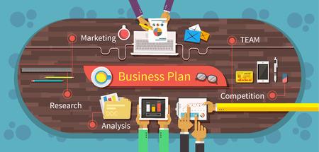 Business plan marktonderzoek analyse. Competition team, business strategie, business model, zakelijke bijeenkomst, op kantoor en op de markt, het beheer en grafiek, data-informatie illustratie Stock Illustratie