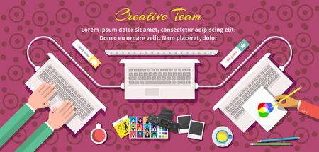 creative thinking: Creative team design flat style. Creative thinking, creative ideas, design team, business and computer, office management, corporate teamwork, technology illustration