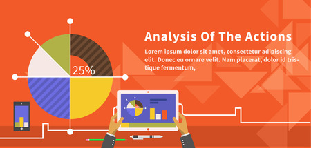 Analyse van de acties infographic. Analytics en analyse icoon, te analyseren en business analyse, onderzoek data-analyse, strategie bedrijf, plannen web, idee marketing seo illustratie Stock Illustratie
