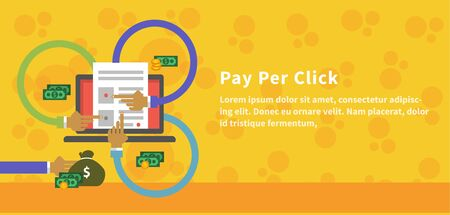 Pay per click design concept style. Ppc and seo, search engine marketing, online advertising, social media, sem and internet, marketing online, web technology, business advertising illustration