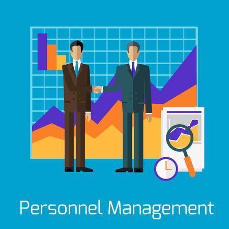 management team: Personnel management people handshake. Management team, leadership and business, management icon, business management, manager businessman, office and teamwork illustration