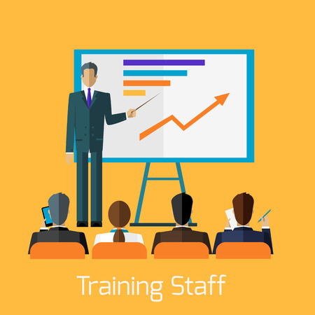 staff team: Training staff briefing presentation. Staff meeting, staffing and corporate training, employee training, mentor and people, business seminar, meeting group illustration
