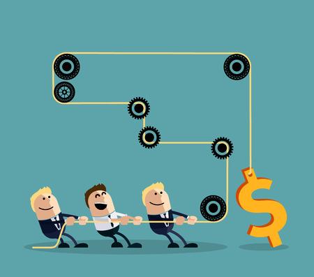 Feliz hombre de negocios tirando de la cuerda con el dólar a través de varios intermediarios engranajes estilo de diseño plano de dibujos animados. Equipo, trabajo en equipo concepto, trabajando juntos, la colaboración, el trabajo en equipo de negocios, liderazgo Ilustración de vector
