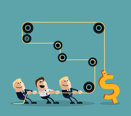 team working together: Happy businessman pulling rope with dollar through several intermediaries gears cartoon flat design style. Team, teamwork concept, working together, collaboration, business teamwork,  leadership