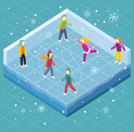 ni�o en patines: Pista de hielo con la gente estilo isom�trico. Patinaje sobre hielo, deportes de invierno, patinaje y patinaje, estaci�n fr�a, actividad al aire libre, el estilo de vida del movimiento, el ejercicio patinador, velocidad de ilustraci�n turismo activo