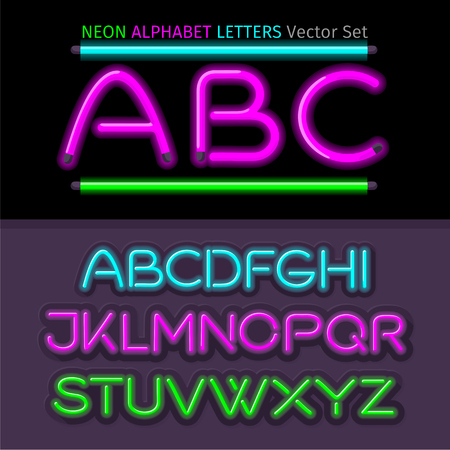 typeset: Neon alphabet font style flat design. Neon letters, neon sign, neon font, light alphabet, neon lights, art text typeset, type abc, typography electricity latin illustration Illustration