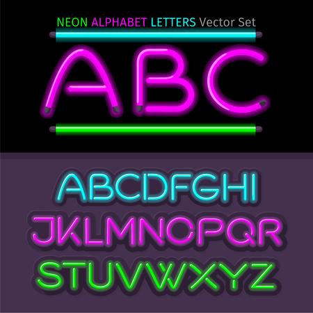 neon sign: Neon alphabet font style flat design. Neon letters, neon sign, neon font, light alphabet, neon lights, art text typeset, type abc, typography electricity latin illustration Illustration