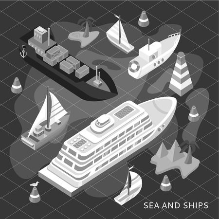 containership: 3d isometric set ships. Sea transport. Island and buoy, motorboat and containership, cruise and tanker, cargo shipping, boat transportation, ocean and vessel. Black and white color
