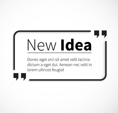 quotation marks: Quote bubble, quote marks, quotation marks, quote box, get a quote. Phrase new idea in quotes on white. Text poster, message typography, motivation wisdom, saying and note, quotation and inspire.