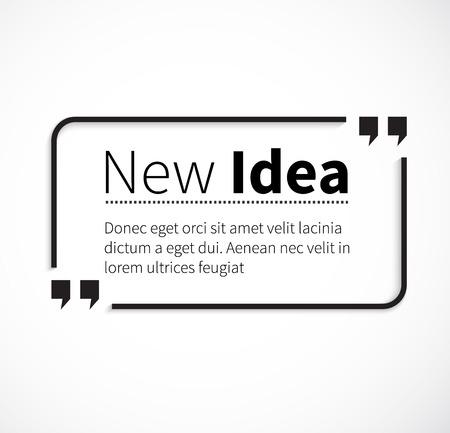 Burbuja Cotización comillas, comillas, caja cita, conseguir una cita. Frase nueva idea entre comillas en blanco. Cartel de texto, mensaje con la tipografía, sabiduría motivación, el decir y nota, presupuesto e inspirar.