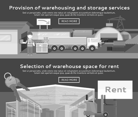 warehousing: Warehouse storage service product. Warehousing and rent space, service storage, transportation and logistic, delivery container, distribution package illustration. Black and white color Illustration