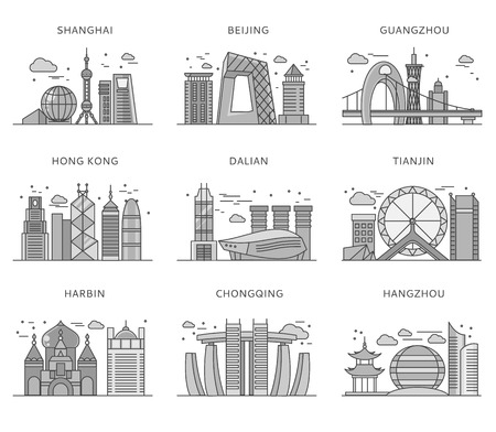 Icons Chinese major cities flat style. Shanghai and china, Beijing and Guangzhou, Hong Kong and Dalian, Tianjin and Harbin, Chongqing and Hangzhou illustration. Black and white color