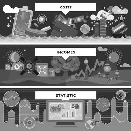 incomes: Finance statistic costs and incomes. Money and business, profit and investment, growth cash, banking currency, pay and market, bookkeeping report, accounting and credit. Black and white color