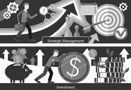 managment: Business consulting investment strategic managment. Marketing idea, service finance, financial banner, strategy planning, analytics and brainstorming, solution and growth. Black and white color