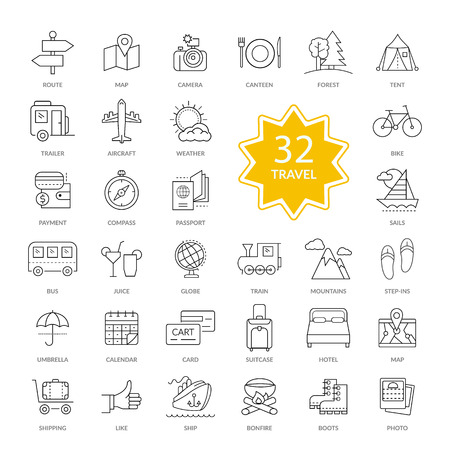 Set of 32 thin, lines, outline travel items icons. Interface icon. Travel, icons, hotel icon, transportation icons, travel logo, holiday icons, map icon. Travel line icons for web and mobile. Illustration