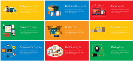 online business: Business online, social media, delivery concept. Marketing tool, startup idea, document and media social, delivery and promotion, shop internet illustration