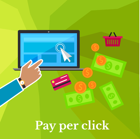Pay per click internet advertising model when the ad is clicked poster. Modern flat design. Ppc, search engine marketing, online advertising, social media, click, sem. Hand click on monitor