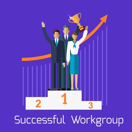 workteam: Successful workgroup people design. Teamwork and team, group work, leadership and project management, business people, success businessman, professional manager, partner businesspeople illustration Illustration