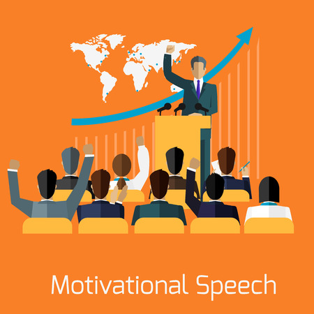 conference audience: Motivational speech concept design. Business seminar, speaker presentation, microphone and meeting, professional talk training, conference and motivation, public and audience illustration