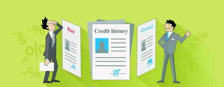 Istoria de crédito malo y bueno. La puntuación de crédito, reporte de crédito, calificación crediticia, el crédito bancario, la puntuación de las finanzas, préstamo de negocios o de deuda, excelente presupuesto, informe de la banca, ilustración hipoteca calificación Ilustración de vector