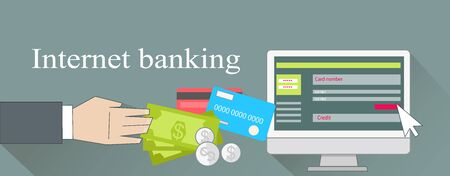 pay money: Internet banking money credit card. Online banking, bank and mobile banking, home banking, finance payment, business technology, pay and buy, electronic commerce illustration