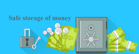 secure money: Safe storage of money design flat. Save money, bank safe, protect money, deposit and business, banking finance, wealth box, security and protection, lock and secure illustration