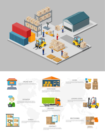 Icon 3d isometric process of the warehouse. Warehouse interior, logisti and factory, warehouse building, warehouse exterior, business delivery, storage cargo illustration. Warehouse infographic Vettoriali