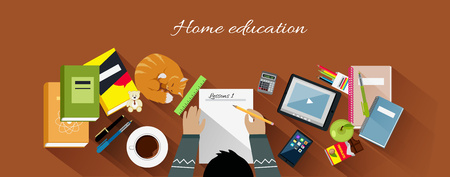 school work: Home education flat design concept. Education kids, home school, home learning, workplace and paper, desk and work, workspace table, professional workstation, learning and coffee illustration