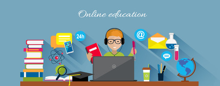 Online education flat design concept. Online learning, e-learning and online training, webinar and online class, internet web technology, book and computer, knowledge media illustration