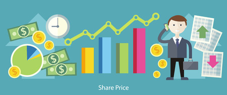 stocks: Share price exchange concept design. Business finance, stock money, currency market, chart investment, financial graph, trade analysis, data sell, broker and economic, invest illustration