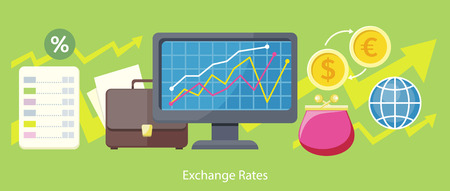 foreign exchange: Exchange rates design flat concept. Exchange icon, currency and money exchange, foreign exchange, currency rates, business finance, money financial, web market, banking infographic illustration